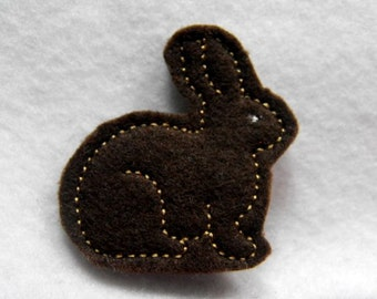 Chocolate Bunny felties-machine embroidered-applique-hair bow center-felt embellishment-scrapbook embellishment
