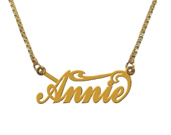 Personalised Gold Plated Handmade SWIRL on Top Name Necklace with ANY NAME of your choice in English