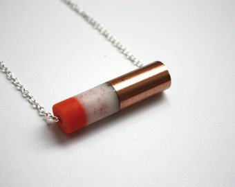 4// Necklace/Resin and copper tube pendant with silvery chain