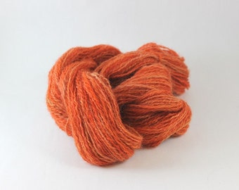 Wenslydale Hand spun wool yarn, DK Weight, 2 ply, 180yds, 4oz, organic yarn, hand dyed, Orange, Pumpkin