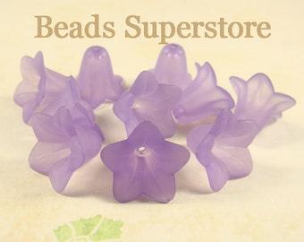 18 mm x 12 mm Purple Lucite Flower Bead - 10 pcs