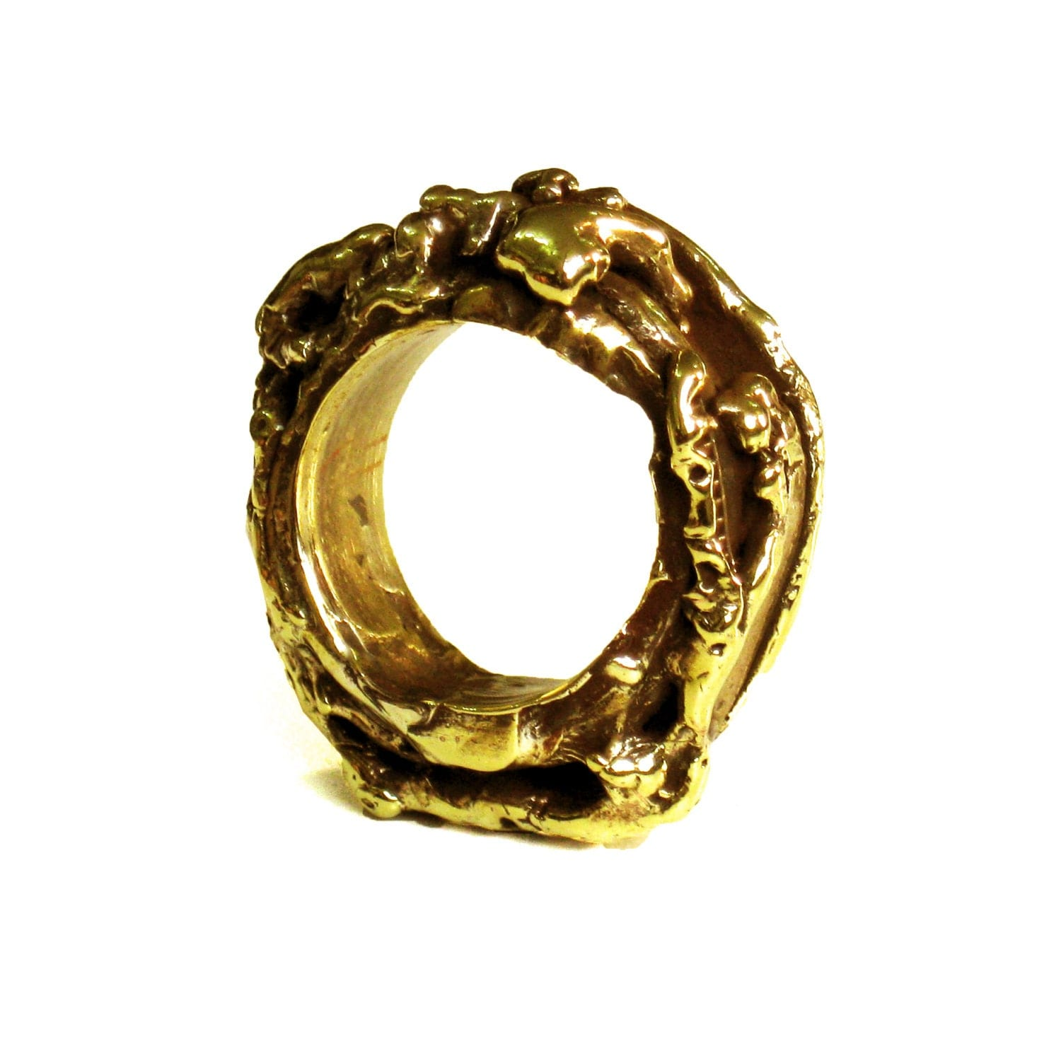 gold statement ring chunky cocktail ring eco friendly ring