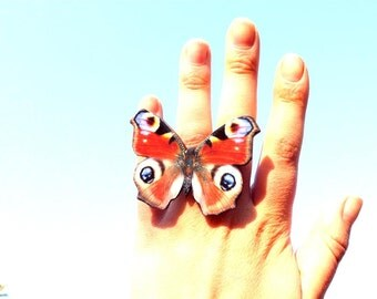 Red butterfly ring, Butterfly Jewelry, Butterfly wing ring, Summer jewelry, Insect jewelry, Christmas gift