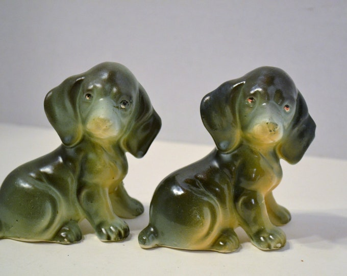 Vintage Ceramic Dog Figurine Set of 2 Gray Black Collectible Pet Lover PanchosPorch