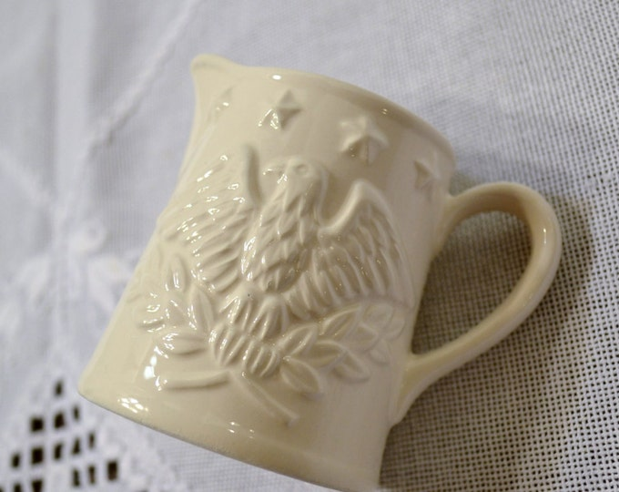 Vintage White Ceramic Creamer Early American Eagle Our Own Import PanchosPorch