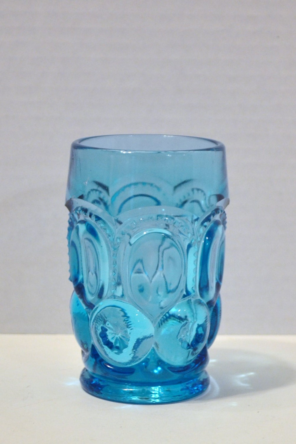 Vintage Teal Blue Pressed Glass Tumbler Thumbprint By