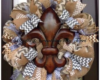 EVERYDAY Wreath - Fleur de Lis Wreath - Chevron Wreath - Burlap Wreath - Deco Mesh Wreath - Door Decor - Made To Order