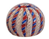 Unusual Vintage Latticino Glass Paperweight w Red White & Blue Crown