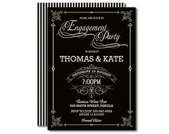 Black and White Engagement Invitation Printable Typography 5x7 Inch Double Sided Design Engagement Party Modern