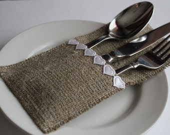 Wedding Burlap Silverware Holders with white lace - Rustic table decor - Set of 8