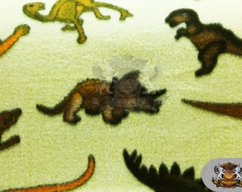 """Fleece Printed Fabric Dinosaur Yellow / 58"""" Wide / Sold by the yard S-491"""