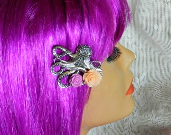 Steampunk Octopus Hair Clip with Lavender and Cream Roses-Sailor Jerry The Kraken Steampunk Pin Up Rockabilly Victorian Pastel Goth