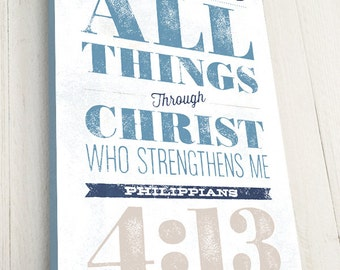 Bible Verse on Canvas, Typography, Scripture Wall Art, Philippians 4:13, Christian Art Decor, Premium Canvas
