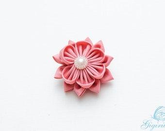 flower hair clip - pink flower alligator clip