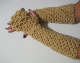 dragon scale gloves fingerless gloves brown Fingerless Gloves long  Crocheted Arm Warmers Brown Accessory Woman Autumn Accessory
