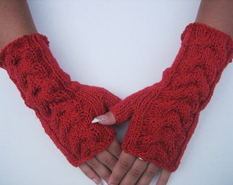 Knitted Red Fingerless Half Gloves with Cable, Woman, Handmade, Winter Accessories