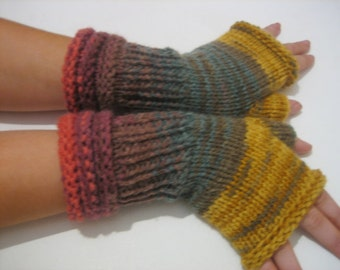 sale! ready to ship! Knitted Fingerless , Woman fingerless, Handmade, brown, green, gray Shades Accessory, Winter Half Gloves