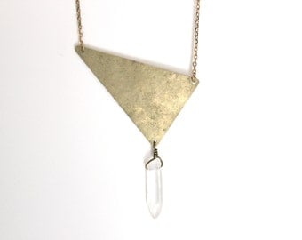 ON SALE - Geometric Crystal Necklace - Clear white crystal quartz point/Hammered brass triangle/Raw brass chain