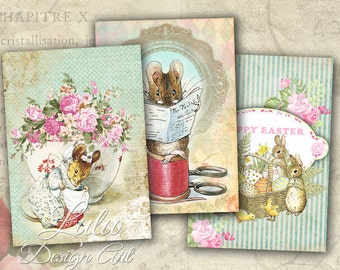 Beatrix Potter Cards - Digital Collage Sheet - Digital Cards - Easter Cards - Gift Tags - Digital Stamp -  Printable Sheet - Fairy Tale