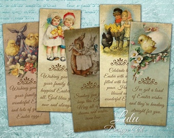 Easter Bookmarks - Digital Collage Sheet, Digital Bookmark, Printable Bookmark, Gift Tag, Digital Card, Easter Printable, Digital Download