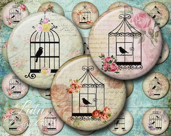 Bird Cages - Instant Download, Digital Collage Sheet, 1 inch circles, Round Images, Bottle cap, Pendant Images, Birds, Birdcage, Magnet, Pin