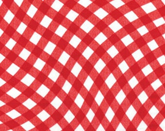 One Yard Maine Attraction - Wavy Gingham in Red - Cotton Quilt Fabric - by Kanvas for Benartex (W1828)