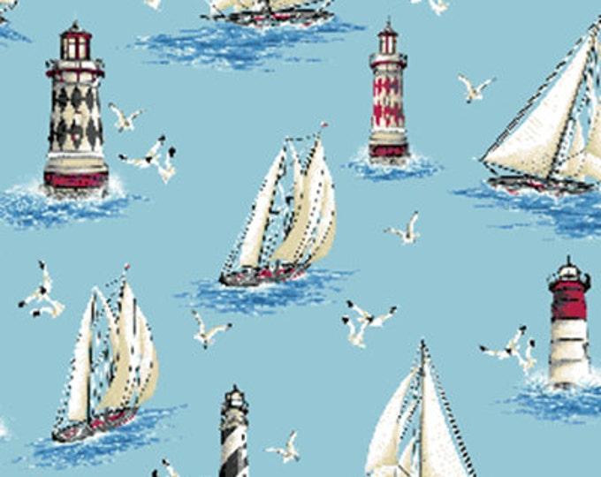 SUPER CLEARANCE!! One Yard By The Sea - Lighthouse Point in Sky Blue - Nautical - Cotton Quilt Fabric from Benartex Fabrics (W1609)