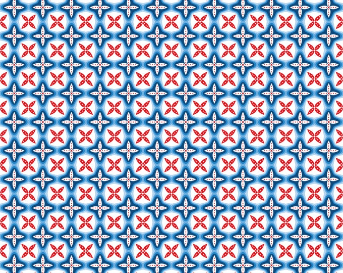 Half Yard True Blue - Jack and Jill in Blue - Geometric Cotton Quilt Fabric - Kid's Nautical Fabric by Ana Davis for Blend Fabrics (W1851)