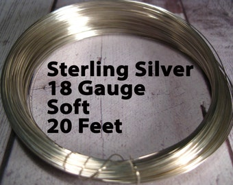15% Off SALE!! Sterling Silver Wire, 18 Gauge, 20 Feet WHOLESALE, Soft, Round.