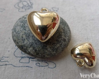 10 pcs Gold Coated Plastic 3D Heart Charms 19mm  A6663