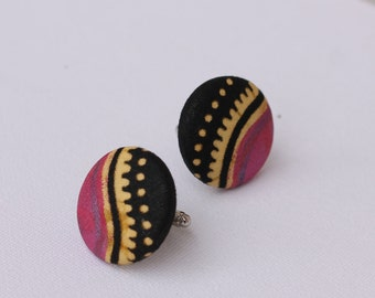 """Cuff Link made with african fabric, fathers day gift, wedding gift, grooms men splash of pink and black , size is 1 1/8"""" - 28mm"""