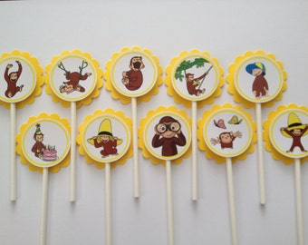 x24 Curious George Inspired Cupcake Toppers