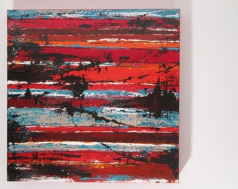 """Original abstract painting, acrylic on canvas """"gallery"""", red, contemporary, 18'' x 18''"""