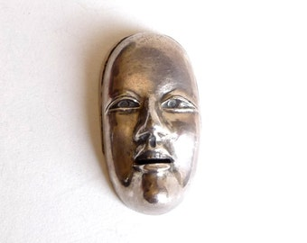 Sterling Silver Noh Mask Pendant Necklace