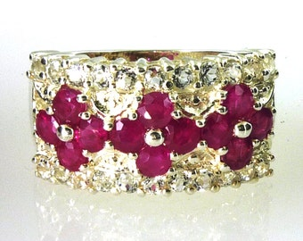 Genuine Ruby and White Topaz Band 925 Sterling Silver Available in a size 7 and a Size 9
