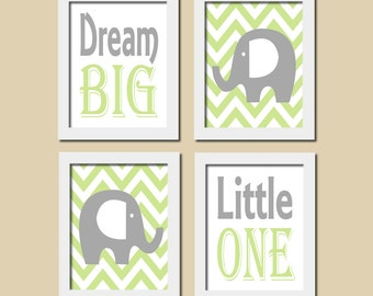Elephant Nursery Art Quote Honeydew Gray Dream Big Little One Inspirational Set of 4 Prints Baby Decor Boy Nursery Kids Wall Art Picture