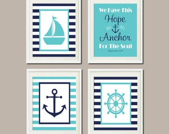 Nautical Decor Nautical Nursery Nautical Baby Shower Navy Anchor Sailboat Bible Verse Nautical Bedroom Bathroom Set of 4 Prints Or Canvas