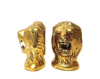 Vintage Brass Lion Head Bookends *FREE SHIPPING*