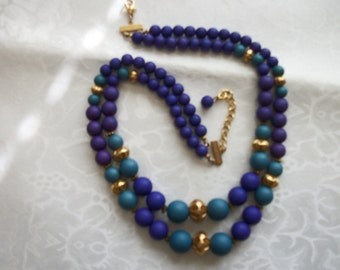 Vintage Two-Strand Turquoise & Purple Resin Beads / Gold Tone / Necklace / Gift / Women / Vintage / Retro / Art Deco / Designer