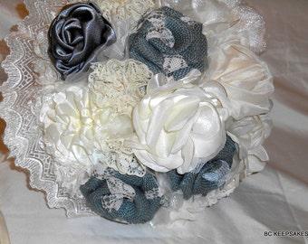 Wedding Bouquet, Bridal Bouquet, Fabric Bouquet, Shabby Chic, Gray Bouquet, Keepsake Bouquet, Bridesmaid Bouquet, Ivory Bouquet