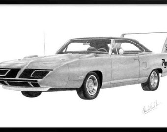 Pencil car art drawing of a 1970 Plymouth Superbird