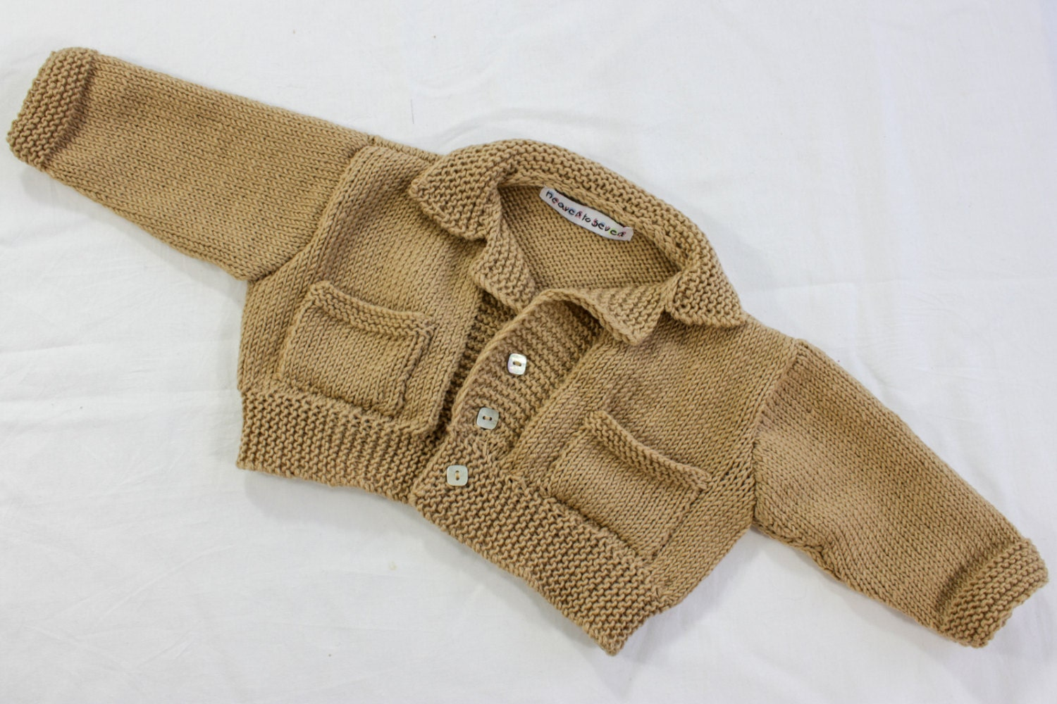 Knitting Pattern Sweater With Collar : KNITTING PATTERN Baby Boy Sweater Buttoned Baby Jacket