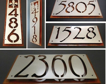 Custom rusted steel address plaque.