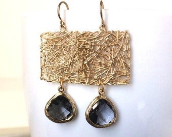 Gray Crystal Gold Earrings, Gold Square Link Black Diamond Crystal Earrings,