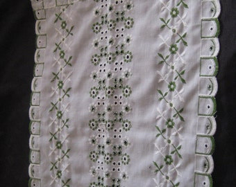 Green white embroidery dresser runner, table runner, country style runner