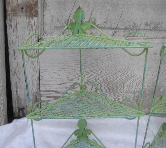 Lime Green Metal Shelf Rustic Shelf Corner By CathysShabbyFarm