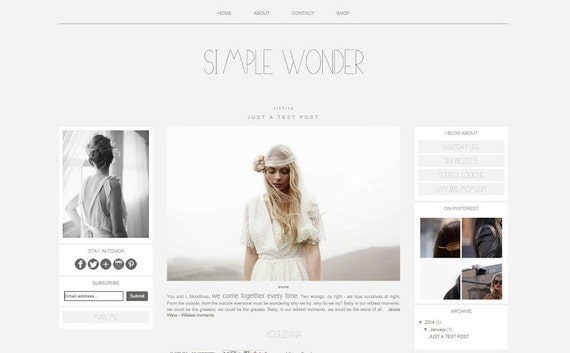 Items Similar To Premade Blog Template Blogger Simple