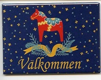 Swedish Dala Horse with Valkommen Magnet #REM232