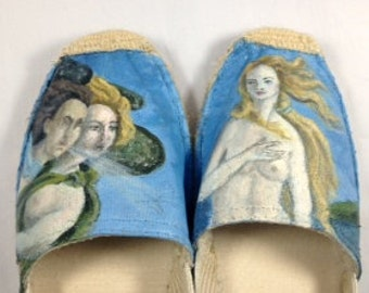 Hand Painted Shoes, Painted Espadrilles, Birth of Venus