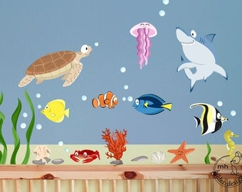 Wandtattoo aquarium xxl kinder wandsticker babyzimmer von for Kinder wandsticker